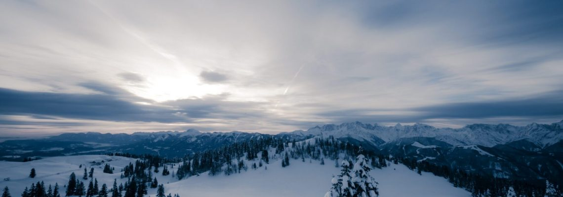 Winterlandschap met bergen aan de horizon en besneeuwde bomen